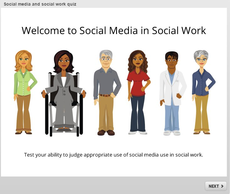 Screenshot of social media and social work quiz